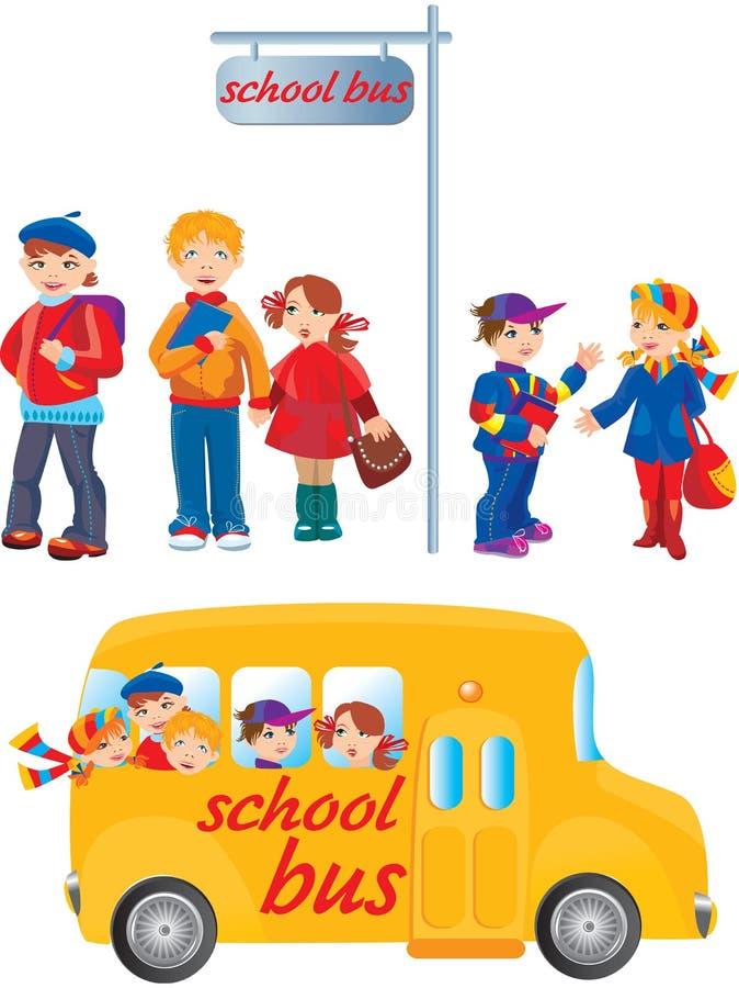 School kids on bus stop royalty free illustration
