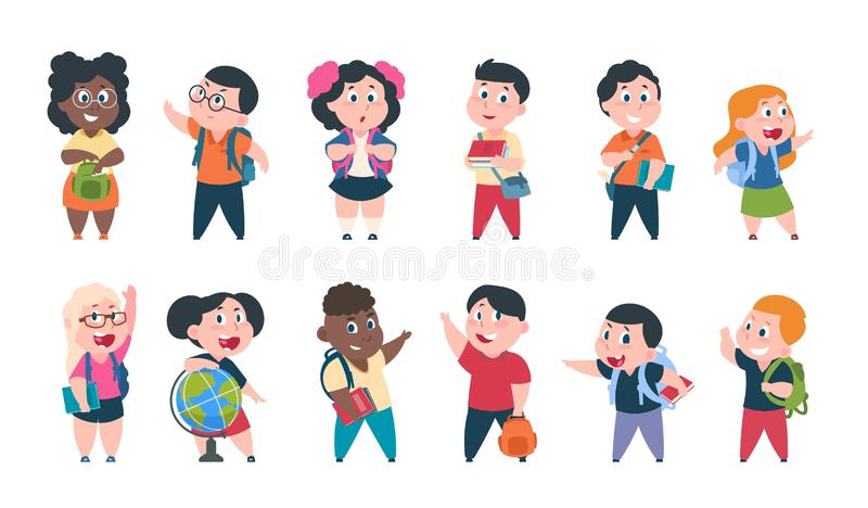 School kids. Cartoon children with books and school supplies, happy cute boys and girls pupils characters. Vector study royalty free illustration