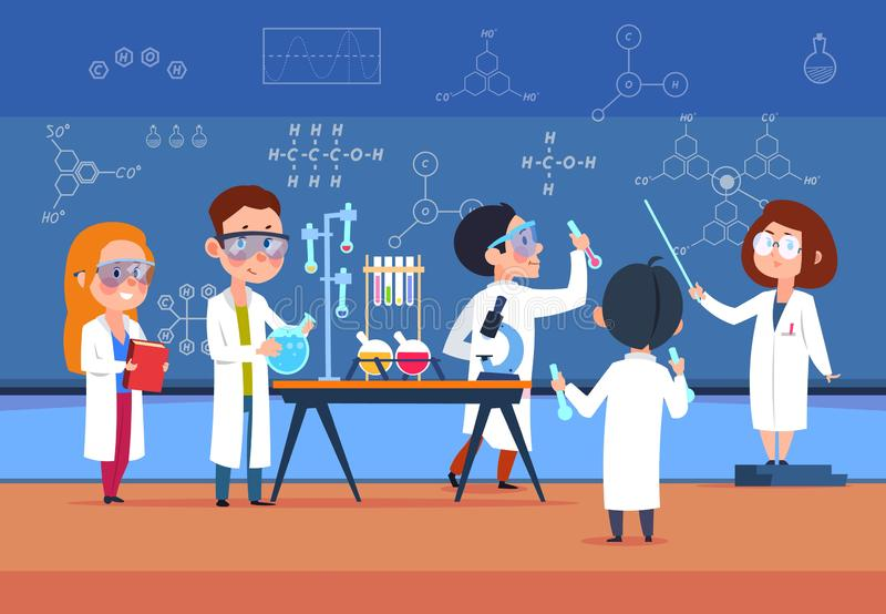 School kids in chemistry lab. Children in science laboratory make test. Cartoon pupils girls and boys in class. Vector. Illustration. Chemistry school lab vector illustration