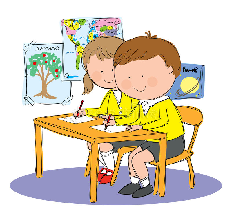 School Kids Classroom. Hand drawn picture of children in classroom at school, illustrated in a loose style. Vector eps available