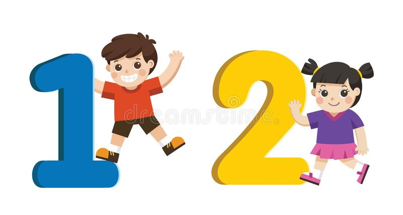School kids and colorful number shaped. Back to School. stock illustration