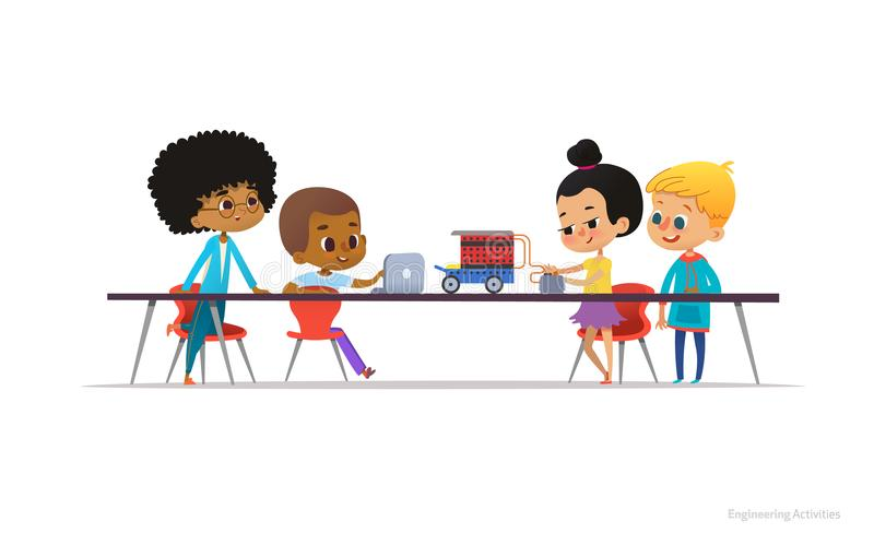 School kids constructing and programming electronic robotic car. Multiracial children sitting at desk and building. Electronic toy during engineering lesson stock illustration