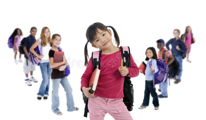 School Kids Diversity. Young kids are ready for school. Education, family, learning, diversity