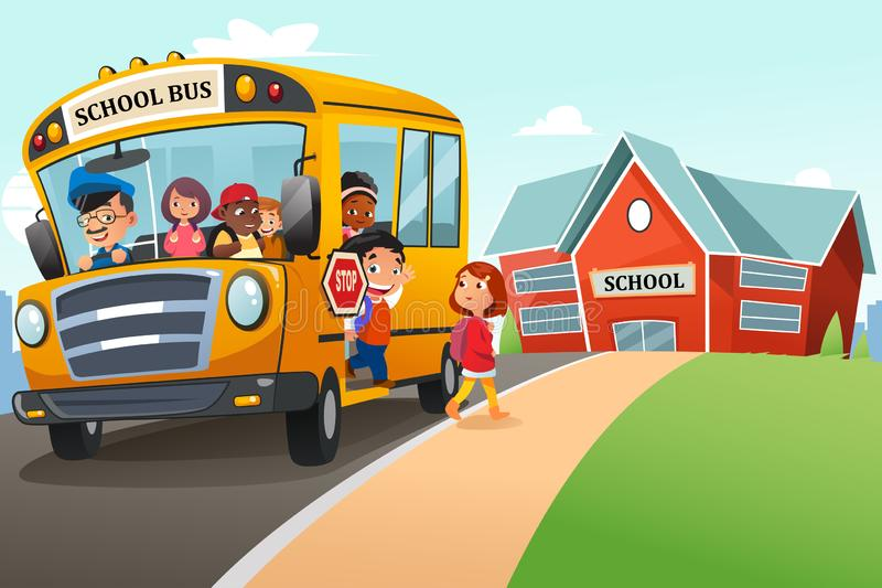 School Kids Getting Off The School Bus Illustration royalty free illustration