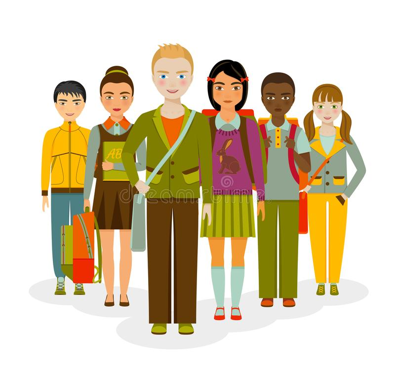 School kids group. Boys and girls stock illustration