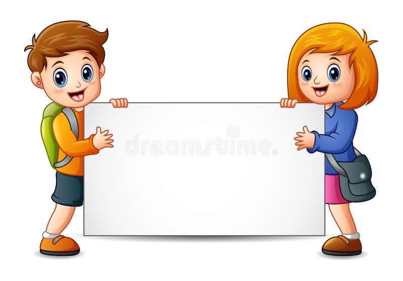 School kids holding a blank sign. Illustration of School kids holding a blank sign stock illustration
