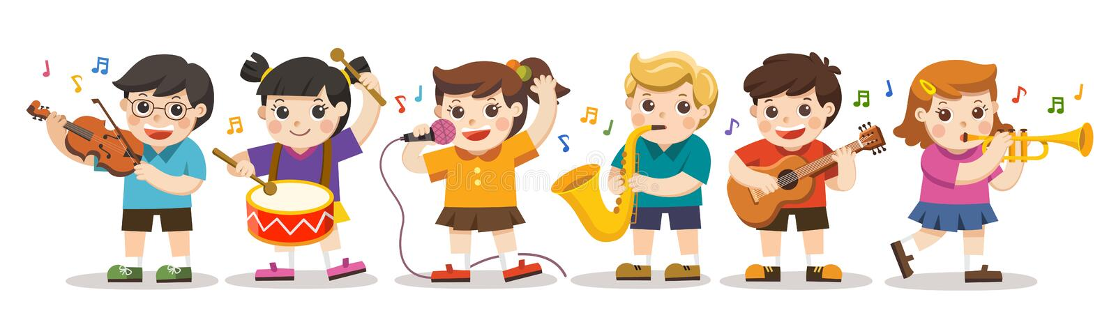 School kids playing musical instruments. Children Performance royalty free illustration