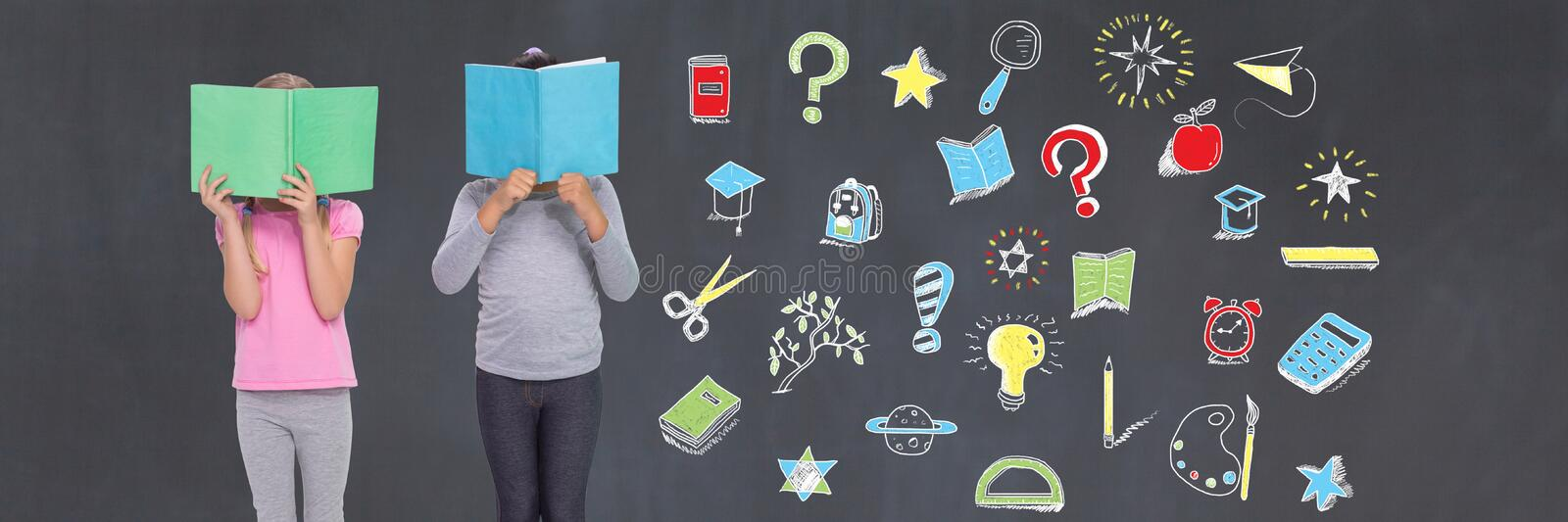 School kids reading and Education drawing on blackboard stock photography
