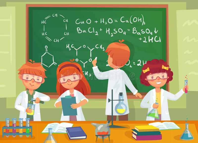 School kids study chemistry. Children pupils studying science and writing at laboratory class blackboard cartoon vector stock illustration