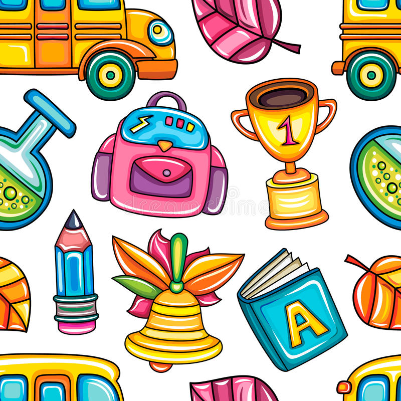 School kleurrijk naadloos vectorpatroon stock illustratie
