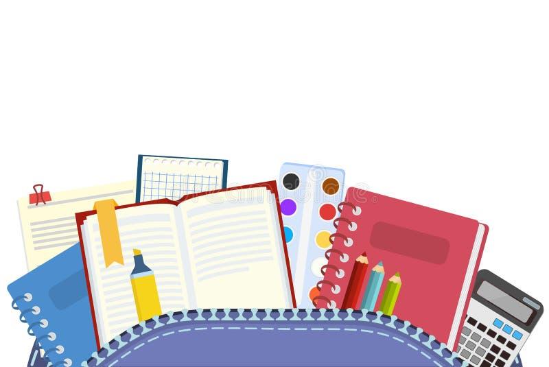 school Knapzak en schoolonderwerpen voor het onderwijs en onderwijs van schoolkinderen Vector illustratie stock illustratie