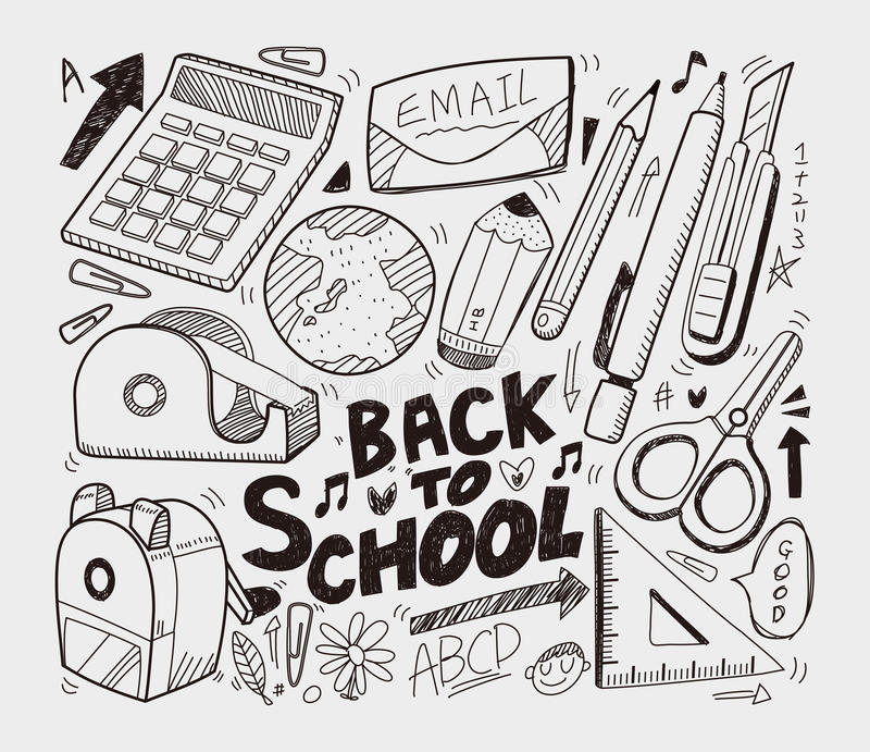 School - Krabbelsinzameling Royalty-vrije Stock Afbeelding