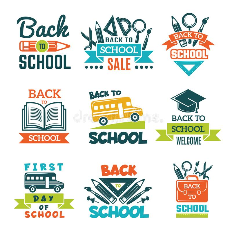 School labels set. Back to school theme stock illustration