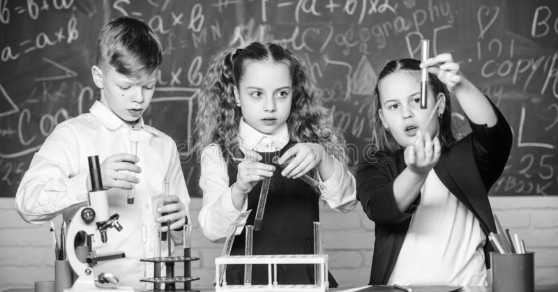 School laboratory. Group school pupils study chemical liquids. School chemistry lesson. Test tubes with substances stock image