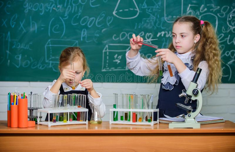 School laboratory partners. Chemical analysis. Test tubes with colorful substances. School equipment for laboratory. Girls on school chemistry lesson. Kids royalty free stock photos