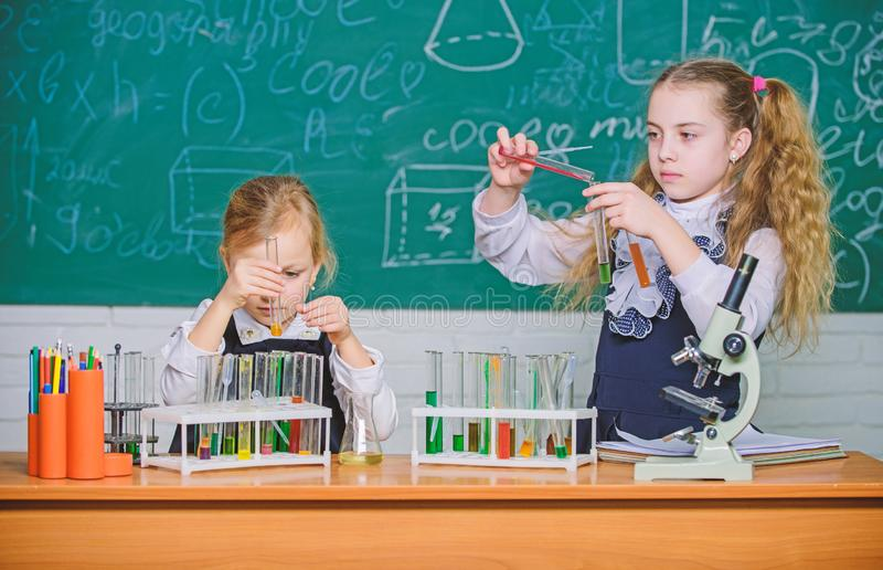 School laboratory partners. Chemical analysis. Test tubes with colorful substances. School equipment for laboratory. Girls on school chemistry lesson. Kids royalty free stock photo