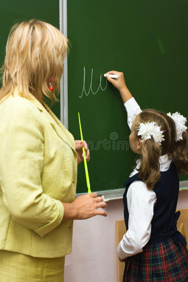 At a school lesson stock photography