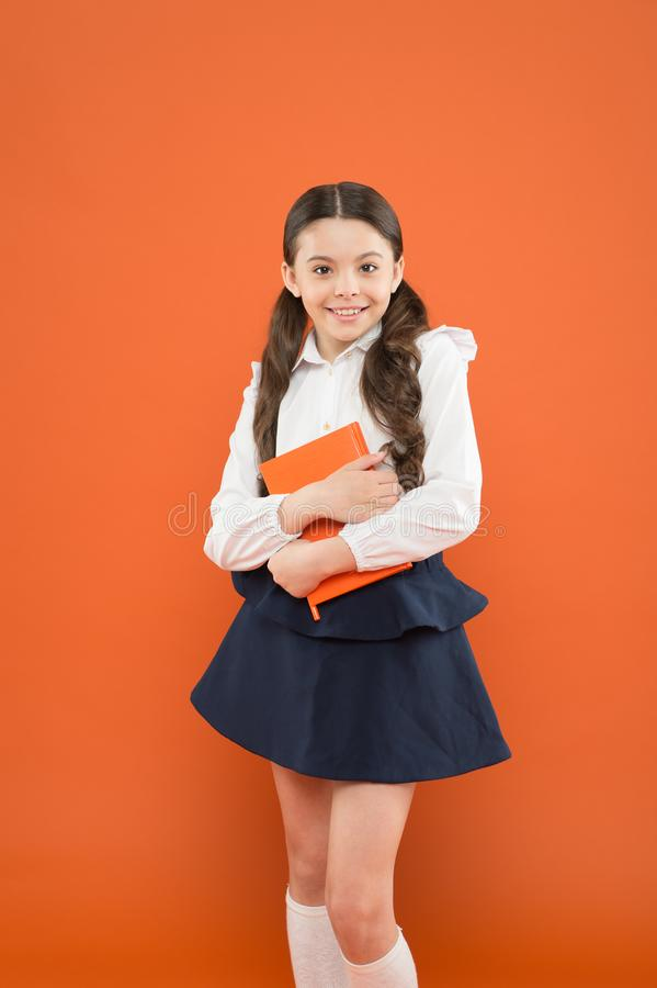 School lesson. Believe in possibilities. Inspiration for study. Back to school. Knowledge day. Possible everything. Schoolgirl enjoy study. Kid school uniform stock photos