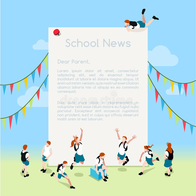 School Letter Template Isometric. School Magazine Letter Template. Interacting People Unique Isometric Realistic Poses. NEW lively palette 3D Flat Vector stock illustration