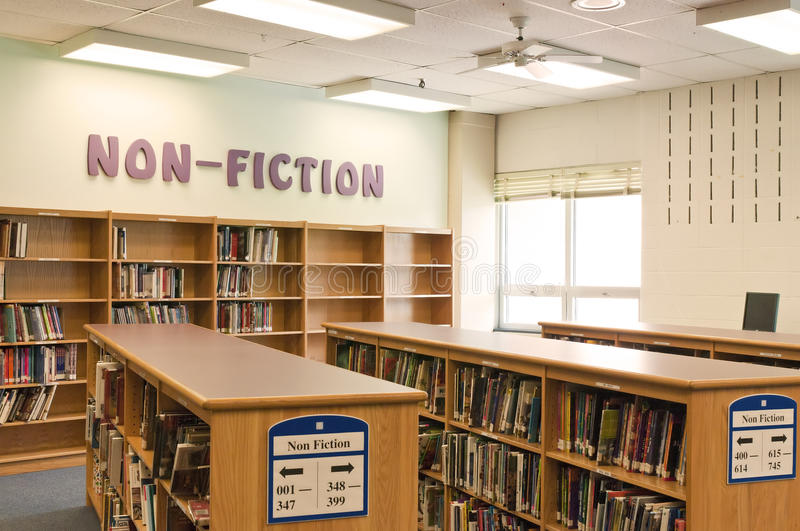School library media center. Library or media center in a modern middle school or high school royalty free stock image