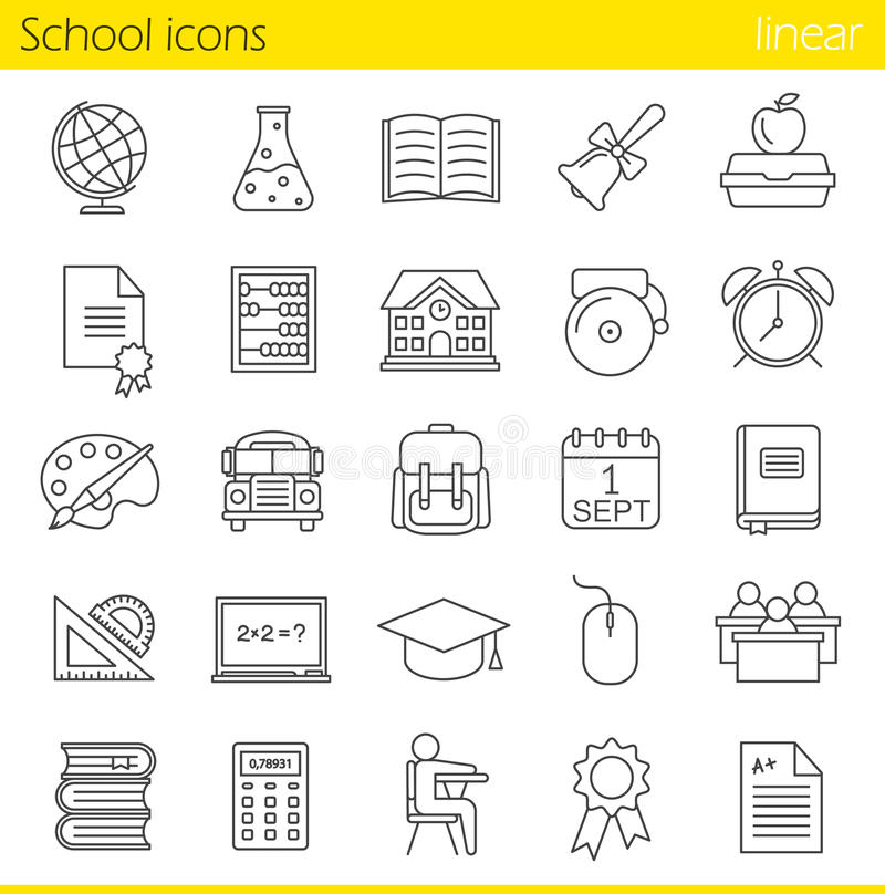 School linear icons set. Class register, calculator, pupils, school bus, bell and building. Textbook, abacus and rulers. Backpack, calendar and academic cap stock illustration