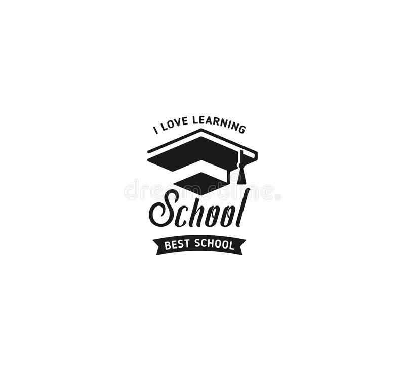 School logo vector. Monochrome vintage style design educational learning sign. Back to school, university, college retro stock illustration