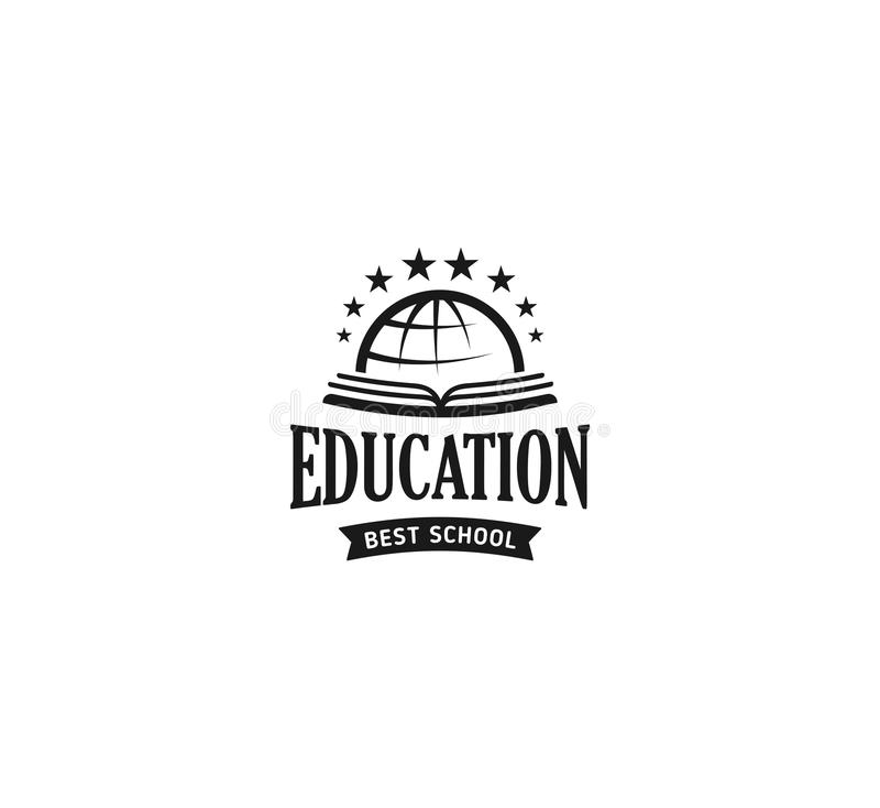 School logo vector. Monochrome vintage style design educational learning sign. Back to school, university, college retro vector illustration