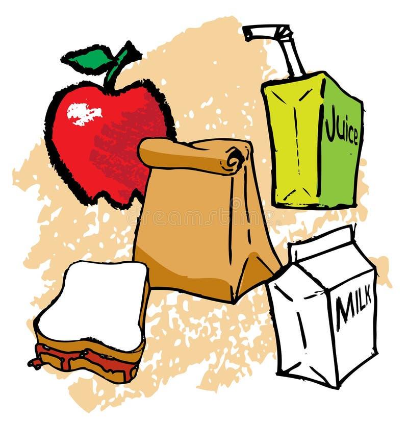 School Lunch. A Kids School bagged Lunch stock illustration