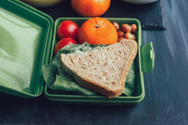 School lunch boxes with sandwich and fresh vegetables, nuts and fruits stock images