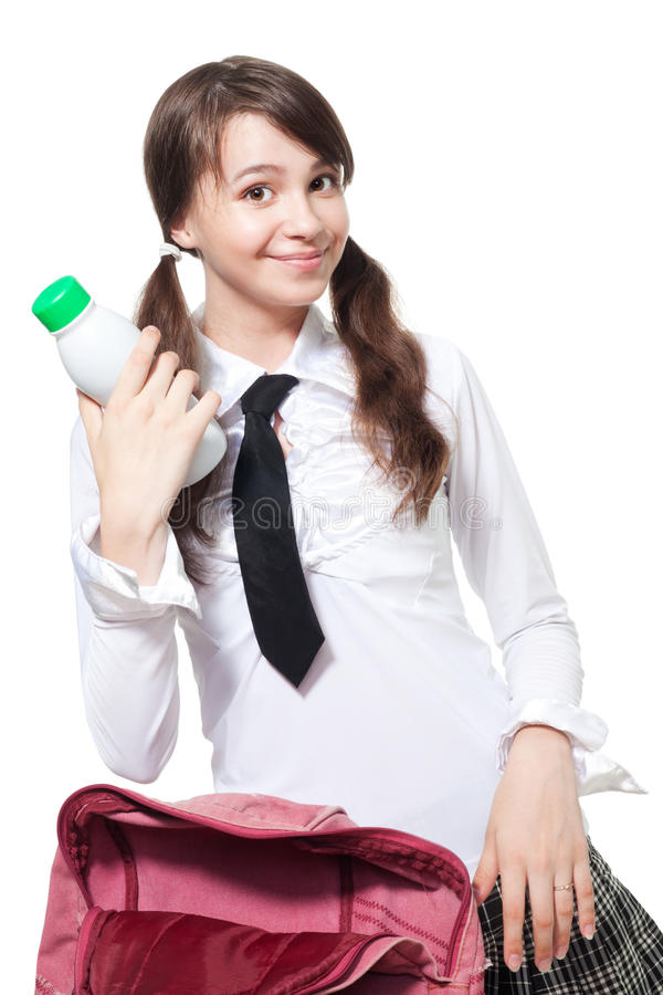 Download School lunch break stock image. Image of female, backpack - 16701167
