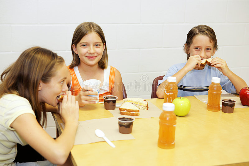 School Lunch In Cafeteria Stock Images