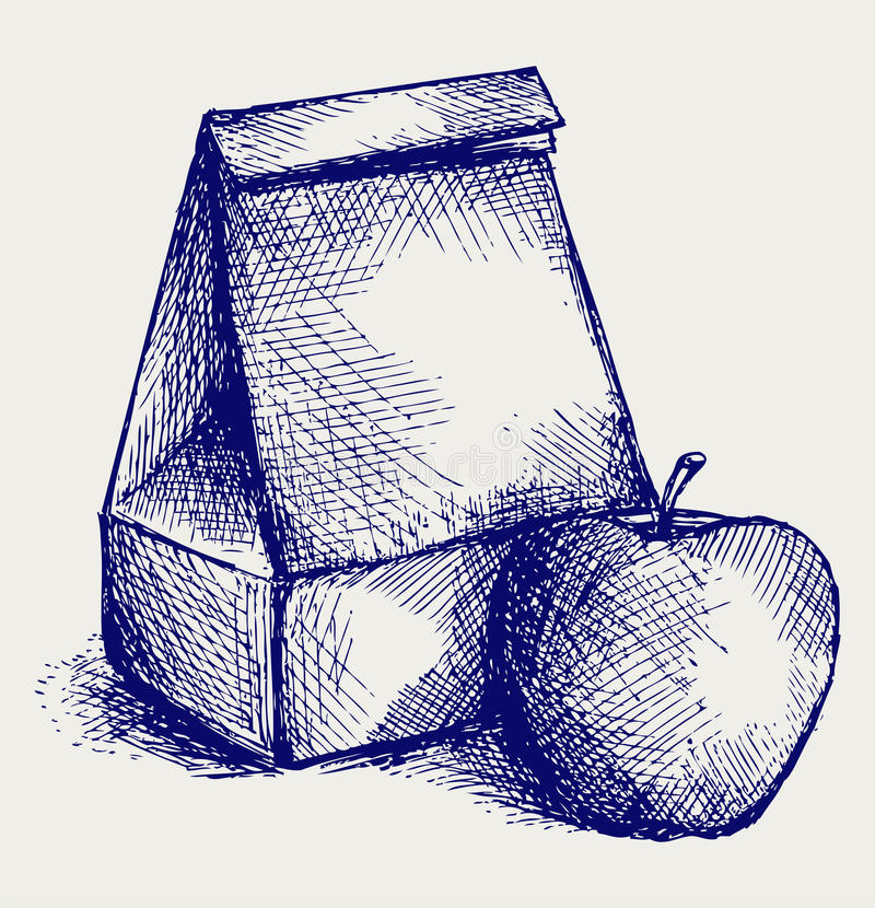 School lunch. Paper bag and apple royalty free illustration