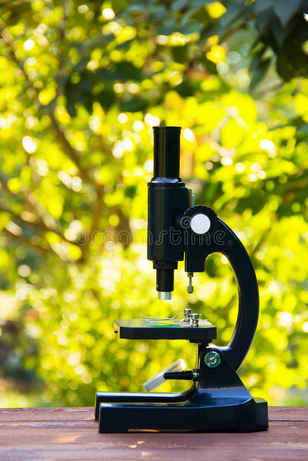 School microscope. Device for the study of biology. The study of nature and the environment. Optical instrument. School microscope. Device for the study of stock image