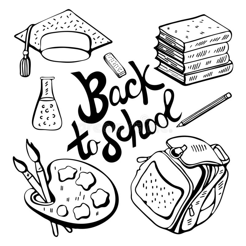 School monochrome set in vector. Black and white various school supplies-subjects for study, books, pencil, eraser, briefcase. stock illustration