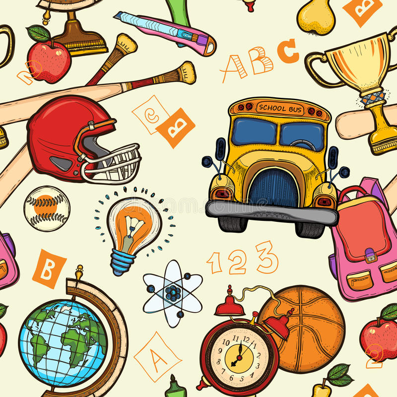 School multicolored seamless pattern with education elements vector illustration