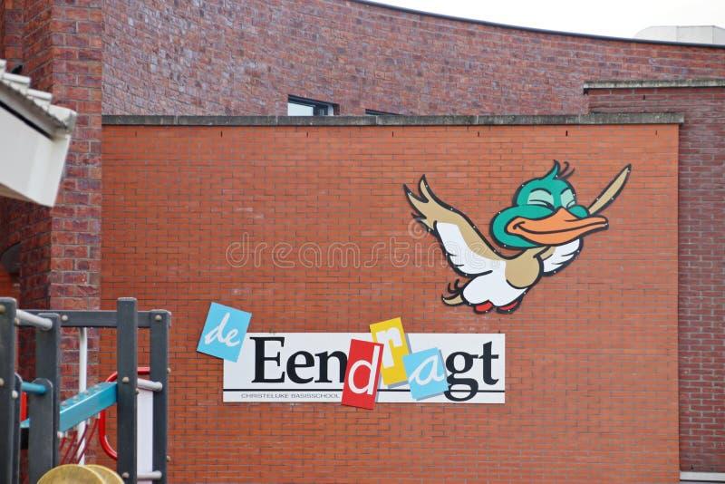 School named de Eendragt in Zevenhuizen for christian primary education royalty free stock image