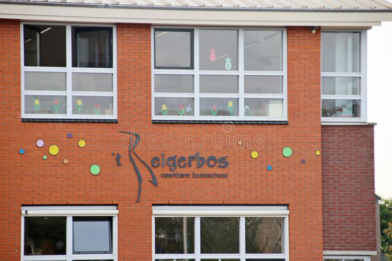 School named `t Reigerbos in Zevenhuizen for public primary education royalty free stock photo