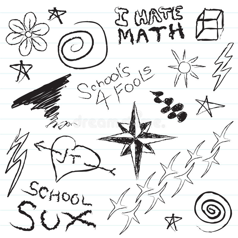 School Notebook Doodles Royalty Free Stock Image