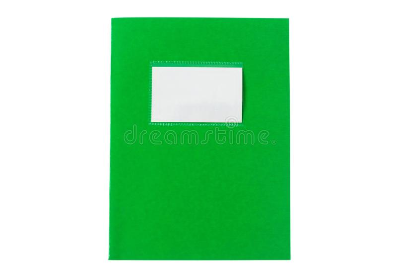 School notebook old fashioned isolated on white background, blank label, copy space, top view. Green school notebook or diary, old fashioned, isolated on white stock images