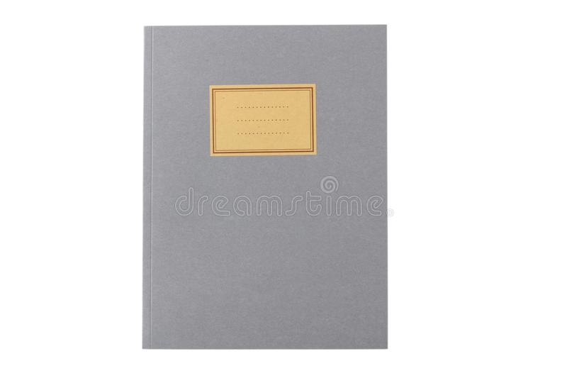 School notebook old fashioned isolated on white background, blank label, copy space, top view stock image