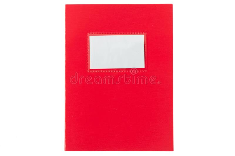 School notebook old fashioned isolated on white background, blank label, copy space, top view. Red school notebook or diary, old fashioned, isolated on white stock photography