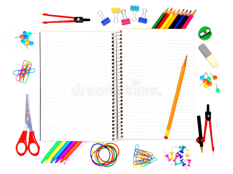 School notebook with supplies stock images