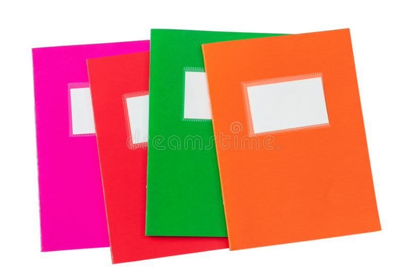 School notebooks stack, old fashioned, isolated on white background, blank label, copy space, top view. School notebooks stack, old fashioned, isolated on white royalty free stock photos