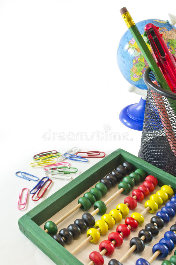 School objects. Many school objects on white background with copy space for your text.Back to school concept stock images