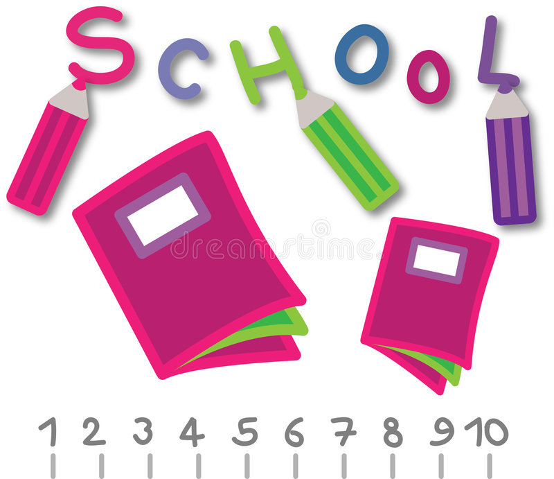 School objects. Some school objects, pencil, book and rules vector illustration