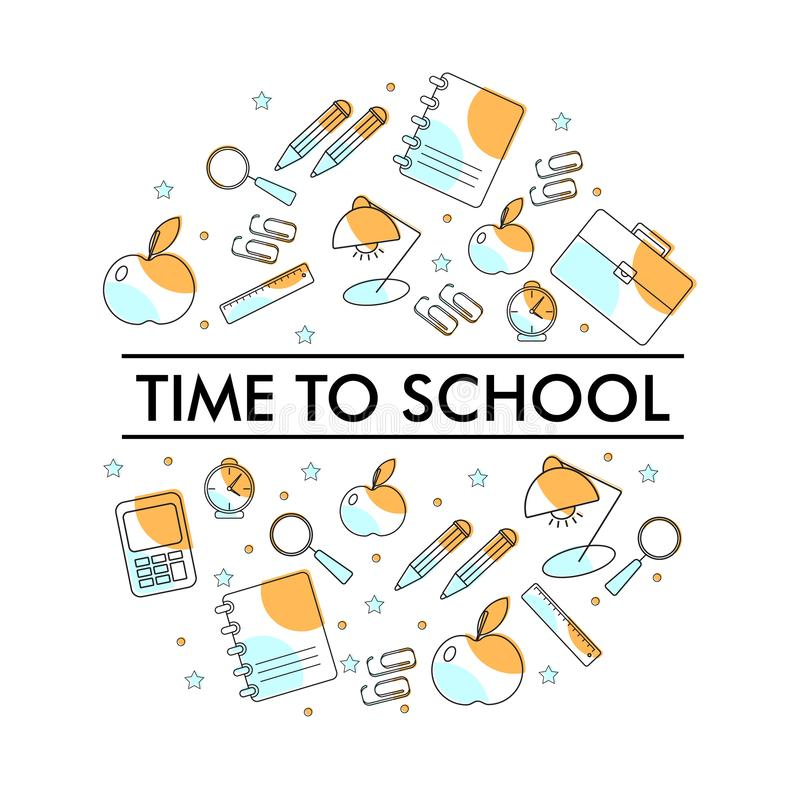 Set with school objects for design vector illustration