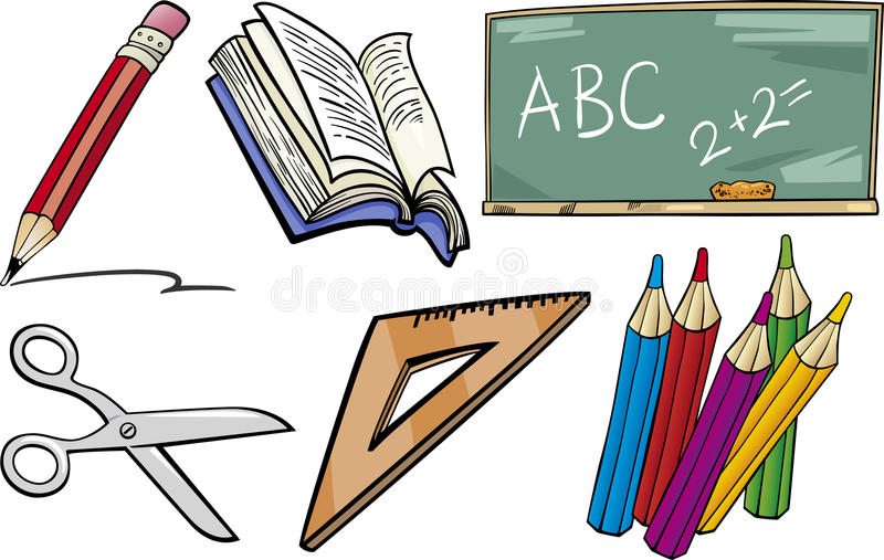 School objects cartoon illustration set vector illustration