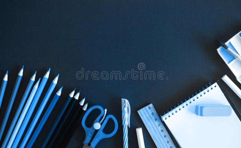 School or office stuff monchrome trendy classic blue toning stock photos