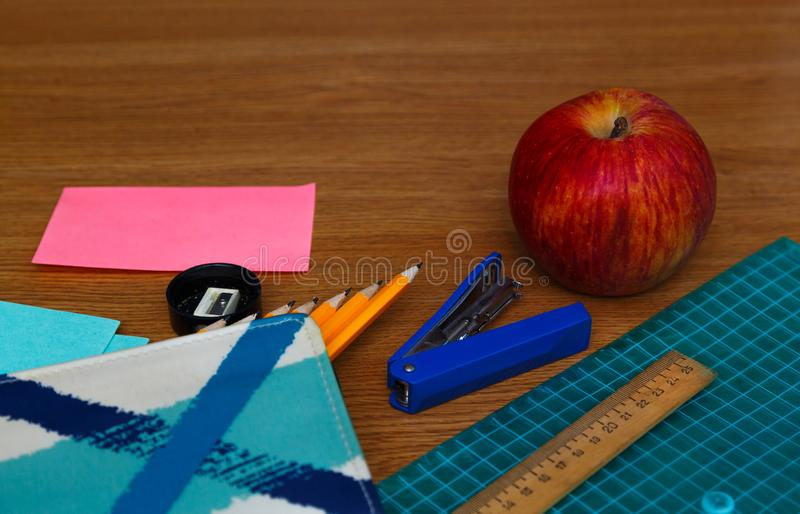 School office supplies on a desk with copy space. Back to school concept stock images