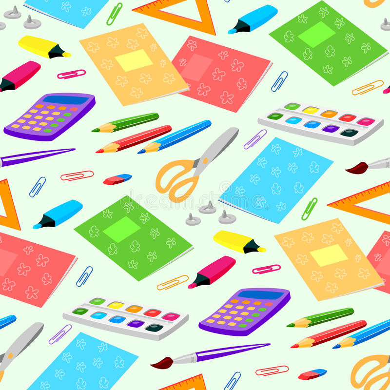 School or office supplies educational accessories vector illustration seamless pattern background vector illustration
